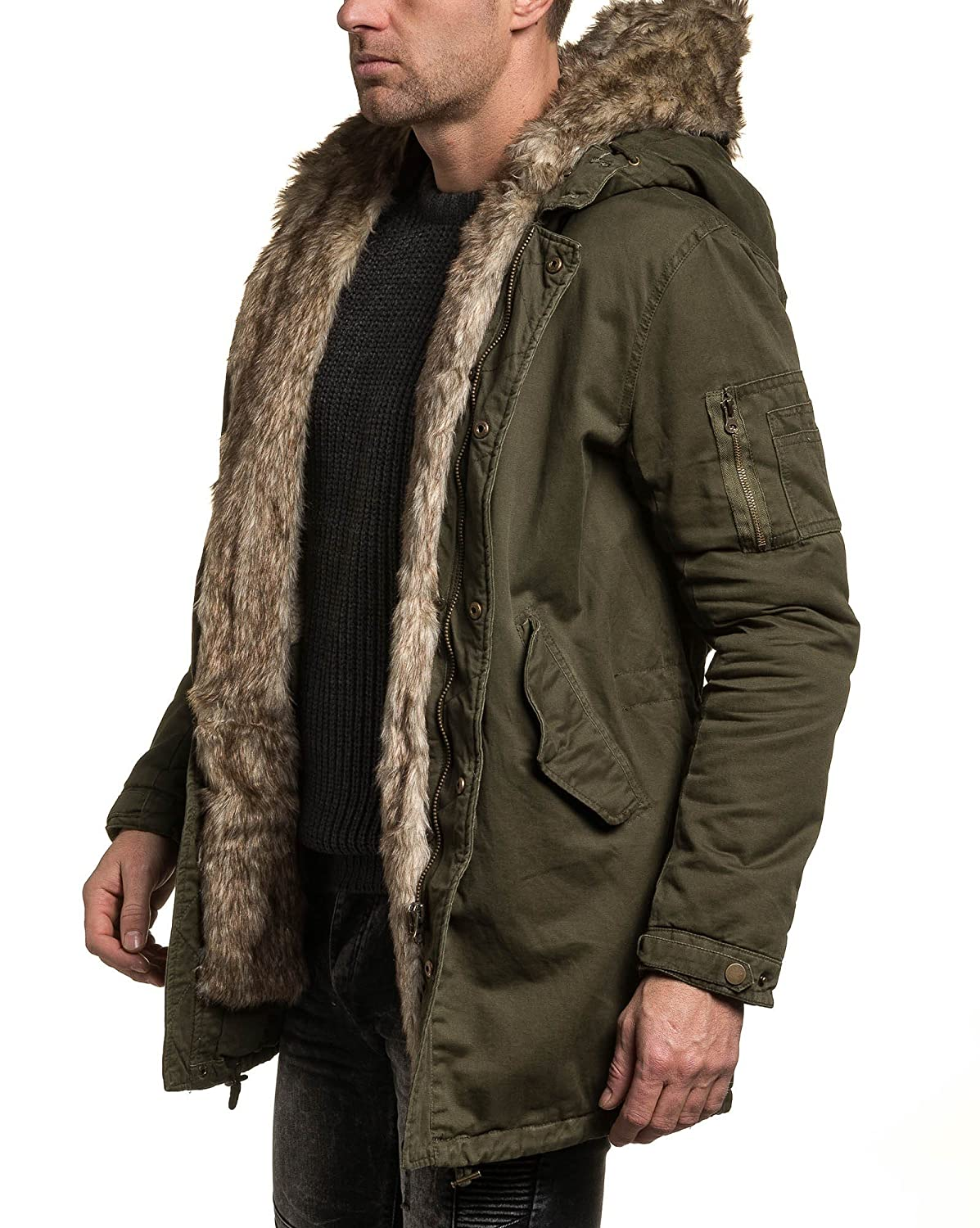 BLZ jeans - Parka khaki long thicket hooded man