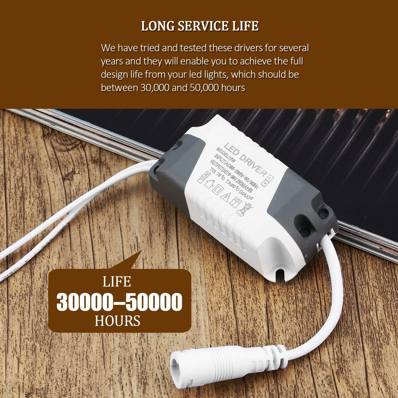 Alimentatore per trasformatore LED dimmerabile Trasformatore per lampada Alimentatore 6/9/12/15/18 / 21W Assicura driver luce esterna per connettore DC (colore: bianco) FairytaleMM