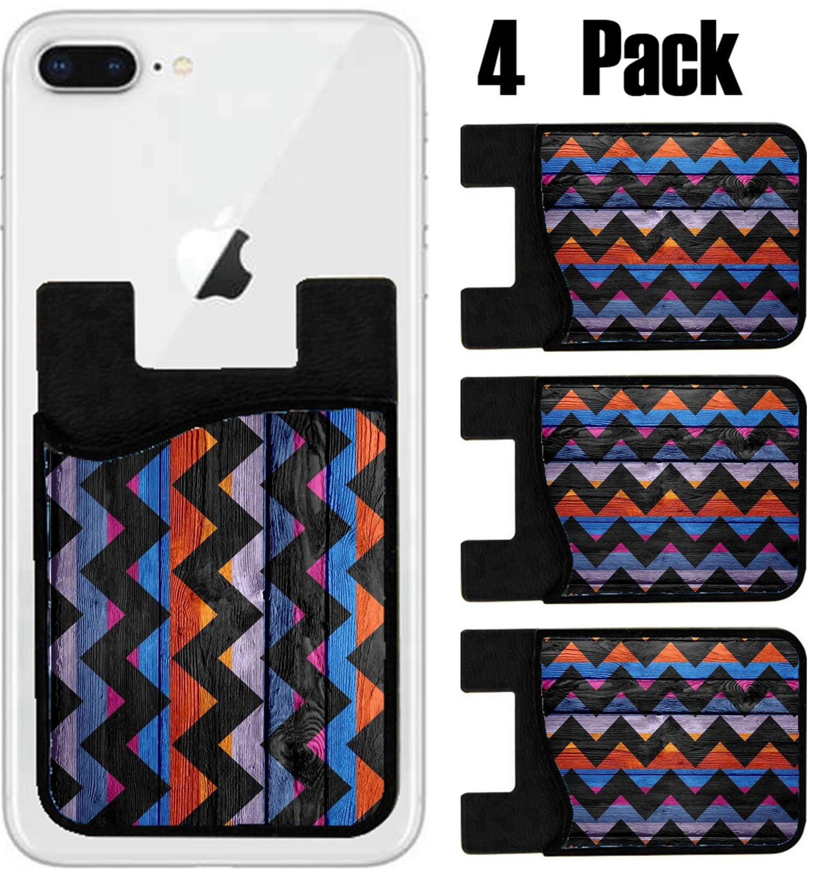 MSD Phone Card holder, sleeve/wallet for iPhone Samsung Android and all smartphones with removable microfiber screen cleaner Silicone card Caddy(4 Pack) IMAGE ID 27684911 Colorful chevron pattern text