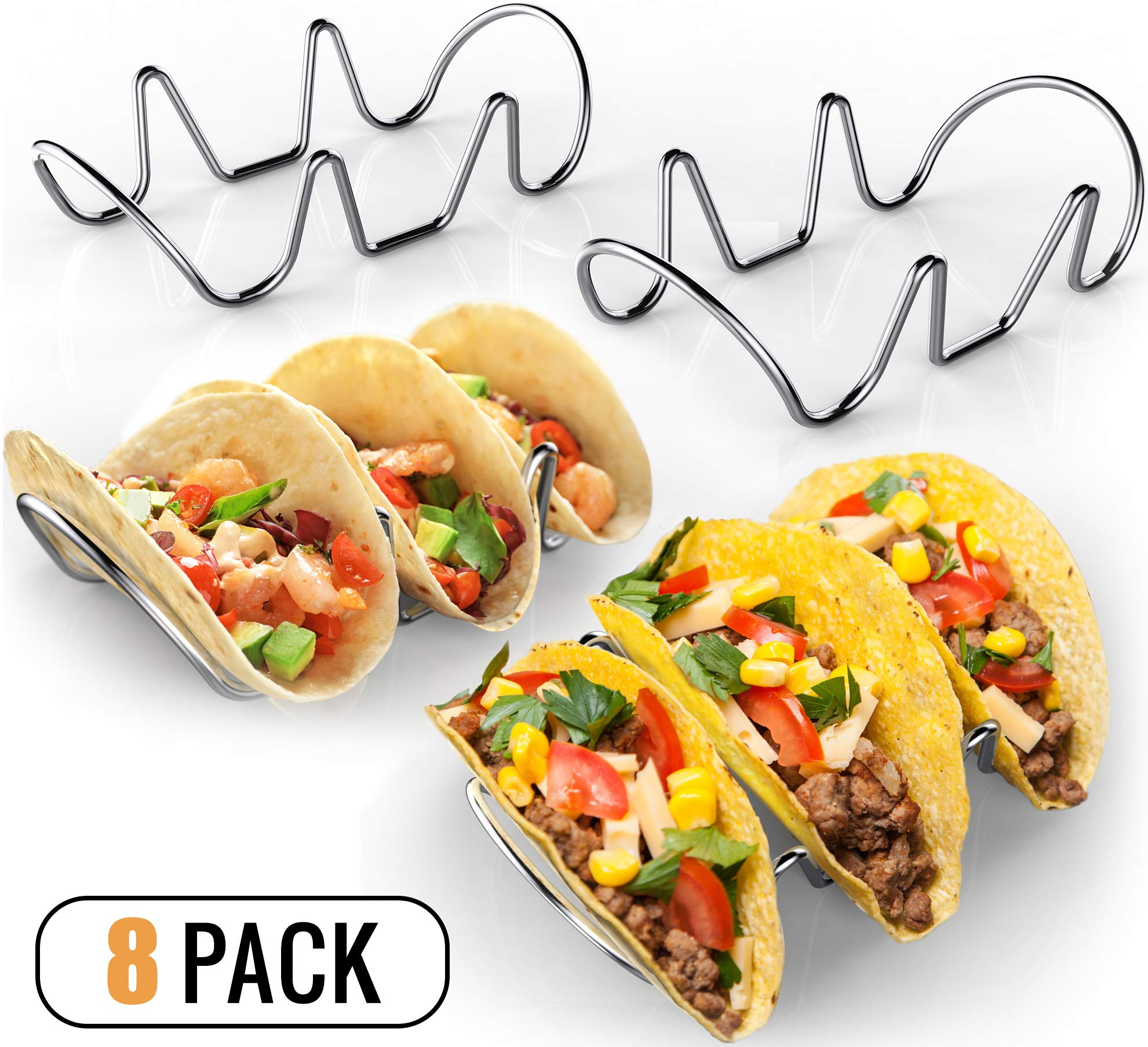 Premium Taco Holders (8 Pack) Stainless Steel Taco Stands (Holds 24 Tacos) - Oven & Dishwasher Safe Stackable Trays - Racks Hold Soft & Hard Shell Tacos