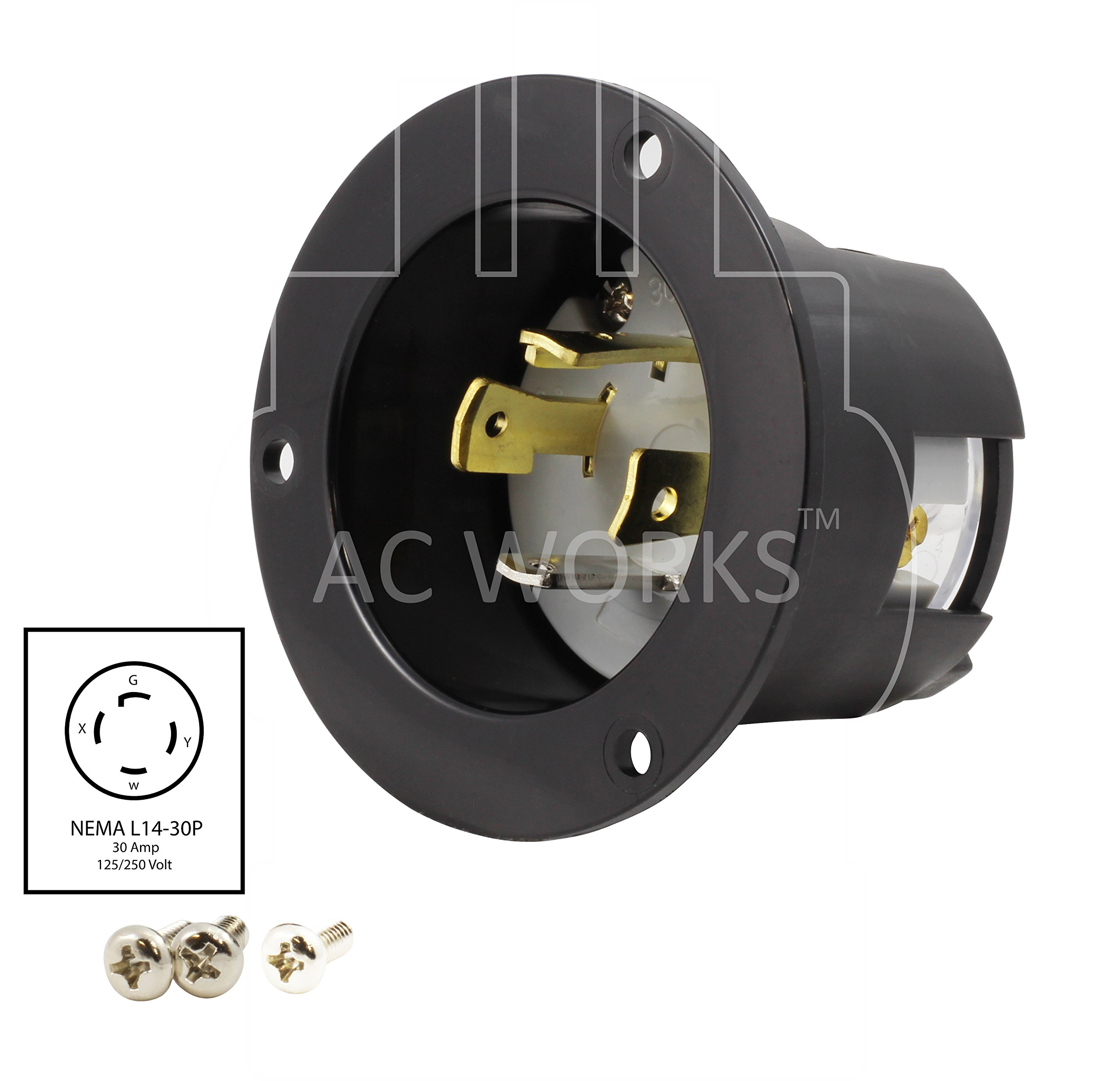 AC WORKS ASINL1430P 30-Amp 125/250-Volt NEMA L14-30P Flanged Power Input Inlet by AC WORKS (Image #2)