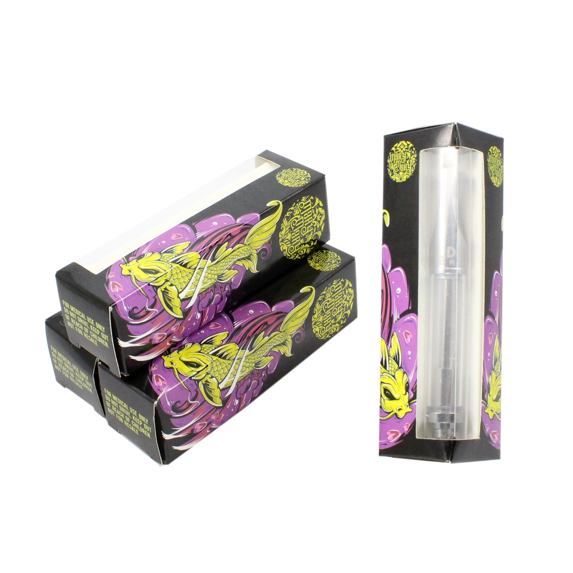 Mary Mary Koi Fish Empty Distillate Packaging Slim 1.0 & 0.5 ML Boxes by Shatter Labels VB-038 (100)