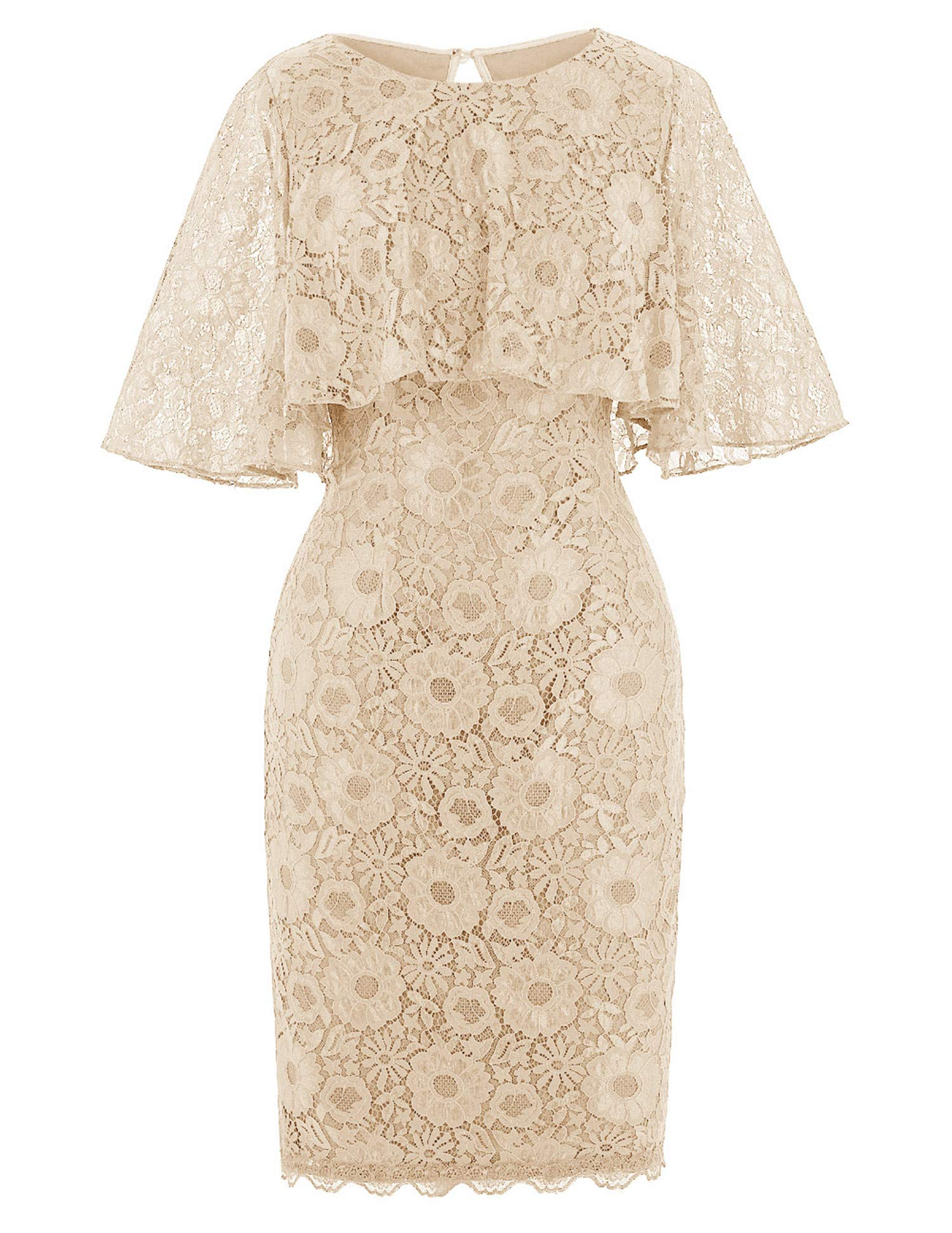 WHZZ Short Mother of The Bride Dress 8 Lace Dress for Wedding