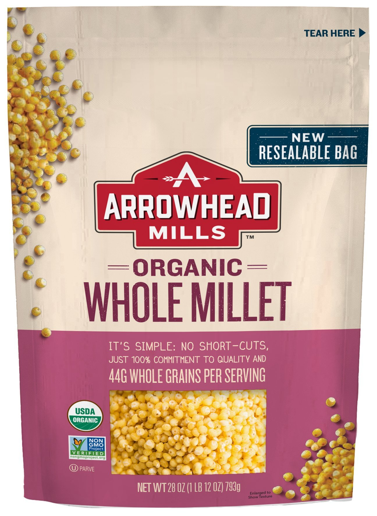 Arrowhead Mills Organic Whole Millet, 28 oz. Bag (Pack of 6) by Arrowhead Mills
