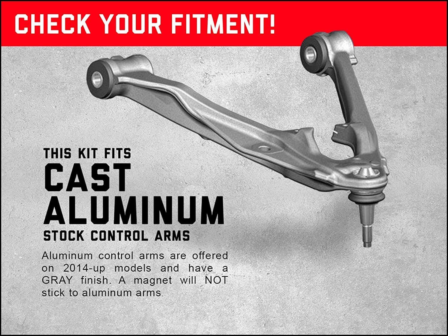 fits 2007-2016 Chevy Silverado GMC Sierra 1500 Forged Solid Steel Control Arms 27801 Rough Country Upper