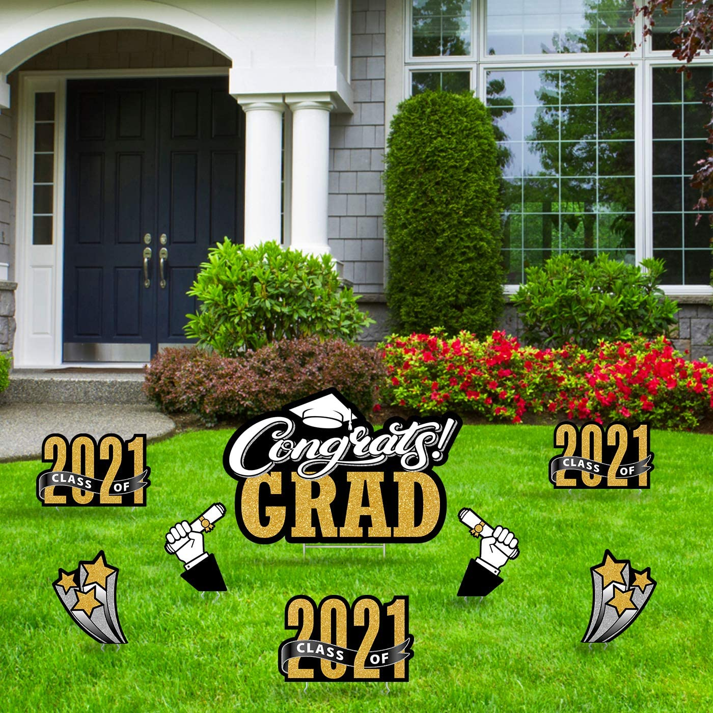 Coroplast Congrats Grad 2021 with Grad Cap Weather Resistant Yard Sign