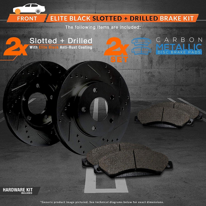 Max Brakes Rear Elite Brake Kit E-Coated Slotted Drilled Rotors + Metallic Pads TA079282 Fits: 2009 09 2010 10 2011 11 Toyota Matrix 1.8L Models