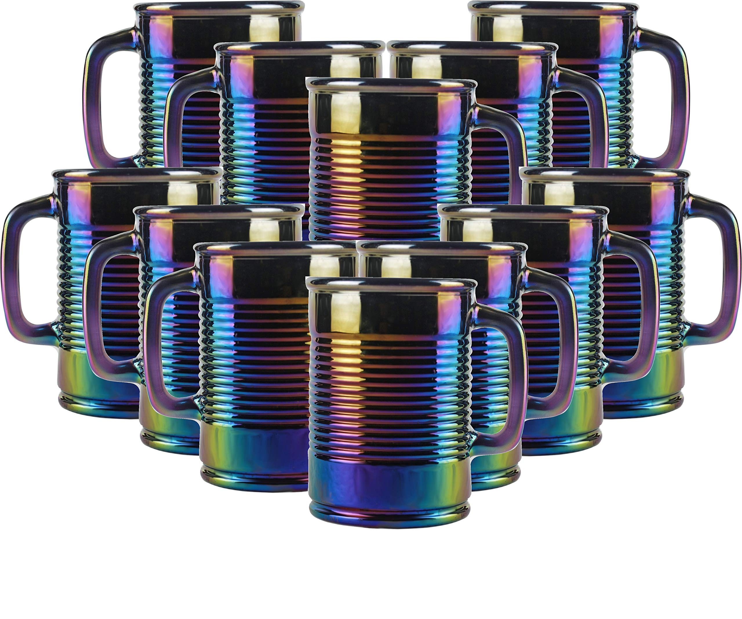 Circleware Huge 12-Piece Set of Mason Jar Mugs in Fun Can Shaped Glasses, Home and Kitchen Farmhouse Glassware Décor Drink Tumblers for Water, Beer, Whiskey and Cold Beverages, 17.5 oz, Rainbow