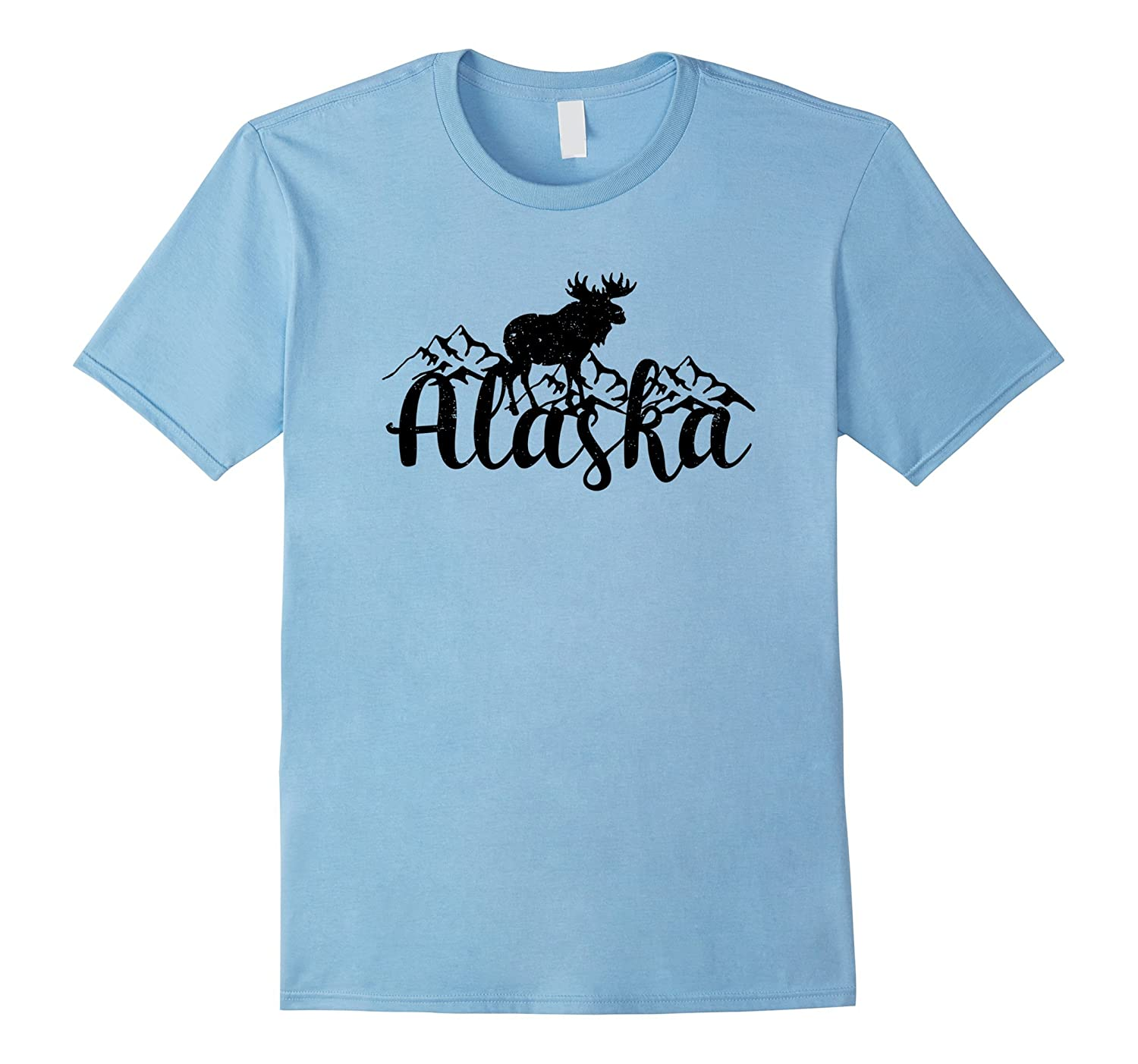Alaska Wilderness T-Shirt with Moose and Mountains Design-ANZ