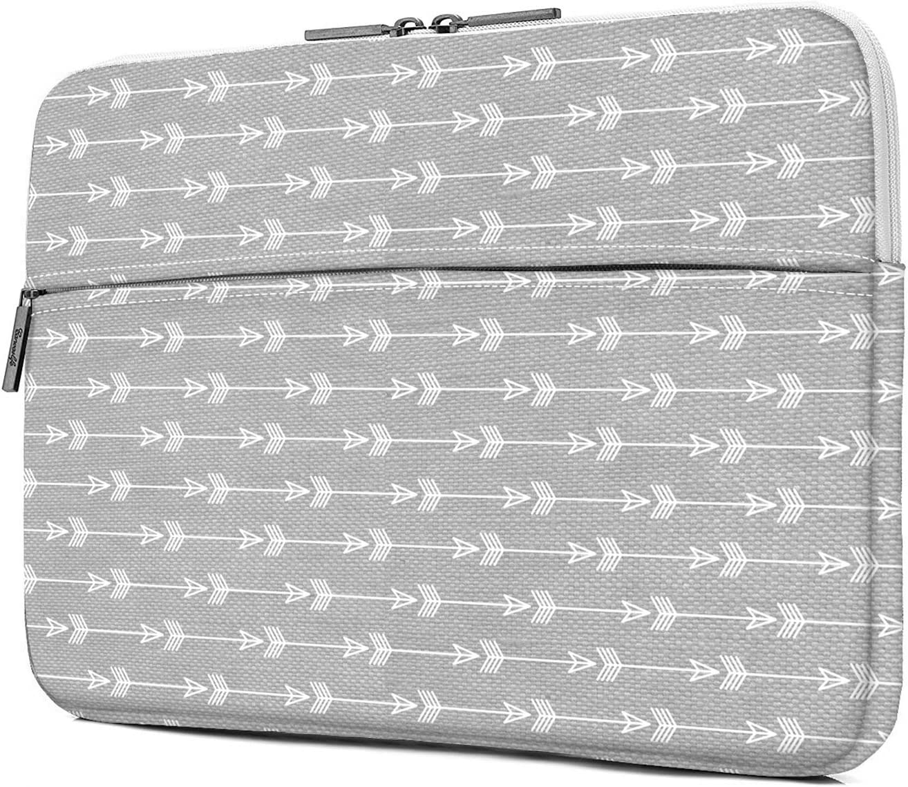 iLeadon 13 inch Laptop Sleeve with Pocket, Grey Arrow Pattern Canvas Laptop Carrying Case Compatible 13.3 inch MacBook Air Pro Retina Surface Chromebook 12.9-inch iPad Pro Tablet Case, Gray Arrow