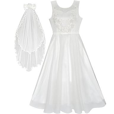 2d4a2b8228c Sunny Fashion Robe Fille Fleur Blanc Mariage Voile Première ...