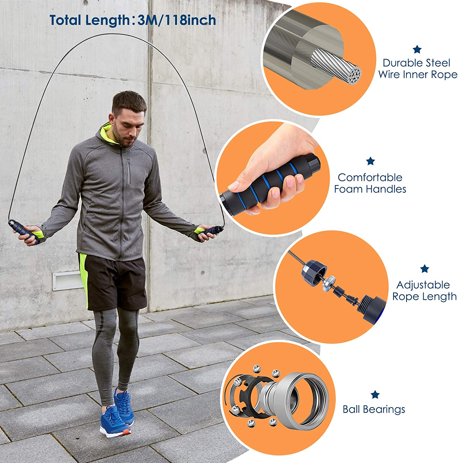 Tube Fitness Bands Up to 150Lbs with Door Anchor// Handles//Ankle Strap,with Jump Rope Simpeak 17 Pack Resistance Bands Set Workout Bands 5 Level Stackable Resistance Loop Exercise Bands for Women Men