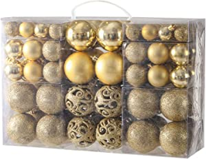 YOBON 100PCS Christmas Ball Ornaments Set, Assorted Shatterproof Christmas Baubles for Christmas Tree, Christmas Tree Hanging Ornaments Decoration with Portable Gift Box Packaging (Gold)