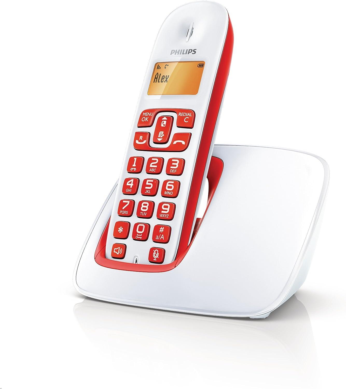 Philips CD1911 Solo - Teléfono fijo inalámbrico sin contestador, color rojo [Importado de Francia]: Amazon.es: Electrónica