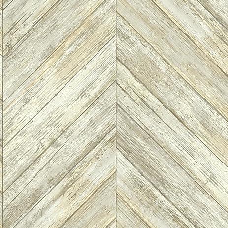 York Wallcoverings Cm3339 Herringbone Wood Boards Wallpaper Beiges
