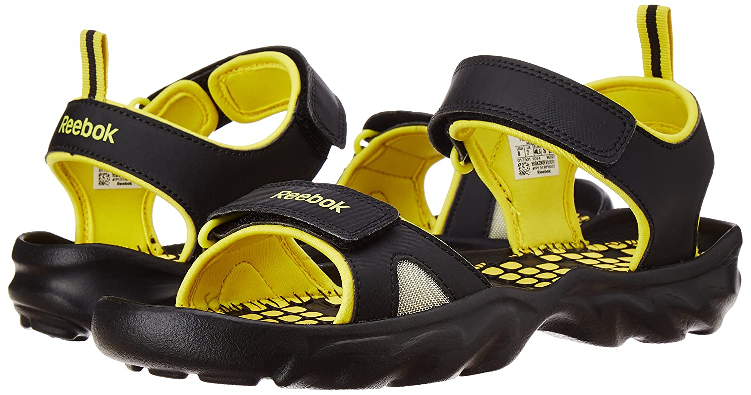 00fe711602611 Reebok Men s Super Drive 2.0 LP Black and Yellow Sandals and Floaters - 11  UK  Buy Online at Low Prices in India - Amazon.in