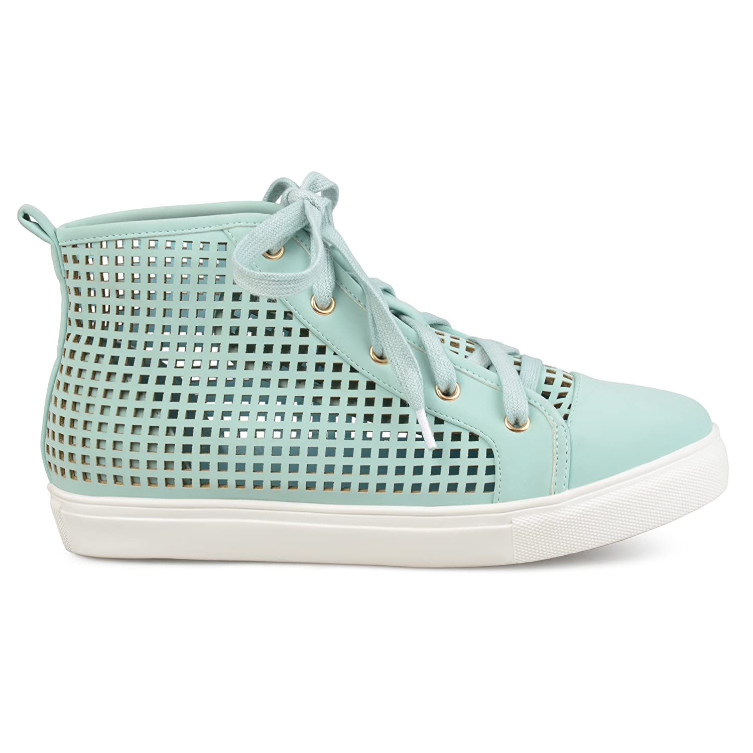 Brinley Co Womens Faux Leather High-Top Lace-up Laser-Cut Sneakers B073RSRWK8 6.5 B(M) US|Mint