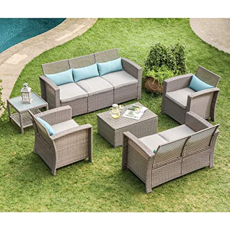 COSIEST 6-Piece Outdoor Furniture Taupe Wicker Conversation Set w Warm Gray Thick Cushions, Sofa Coffee Table, Storage Chest, 7 Turquoise Lumbar Pillows for Garden, Pool, Backyard