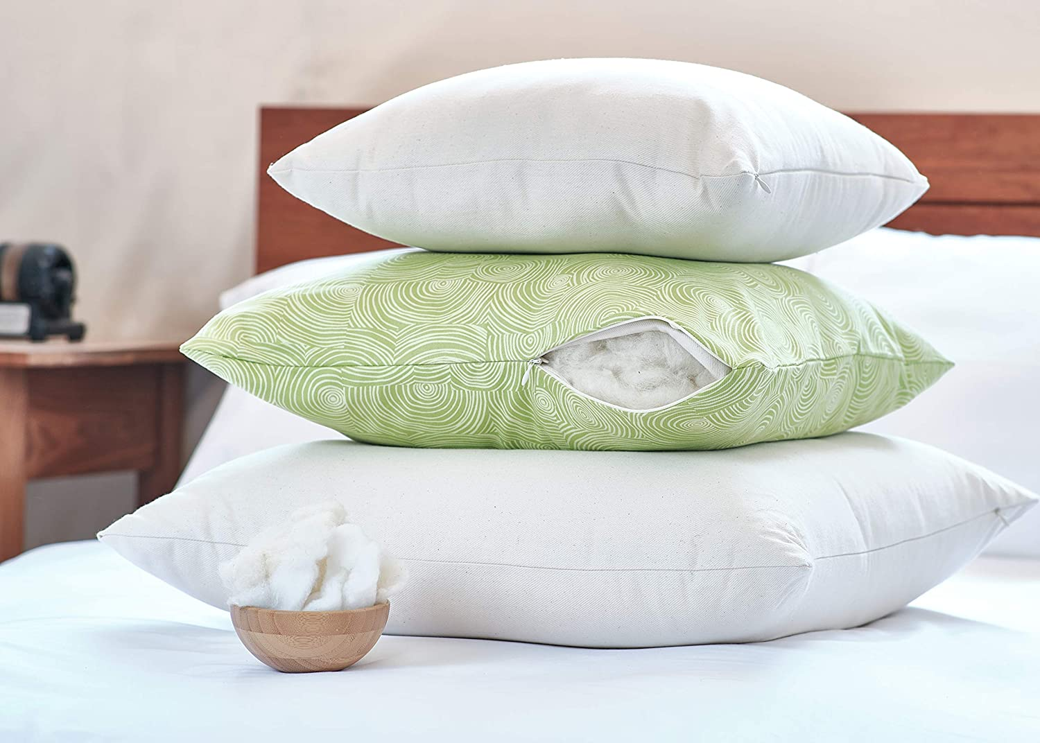 White Lotus Home WSPZ05 Wool Sleep Pillow with Organic Case with Zipper, 20x30-Queen Medium, Natural