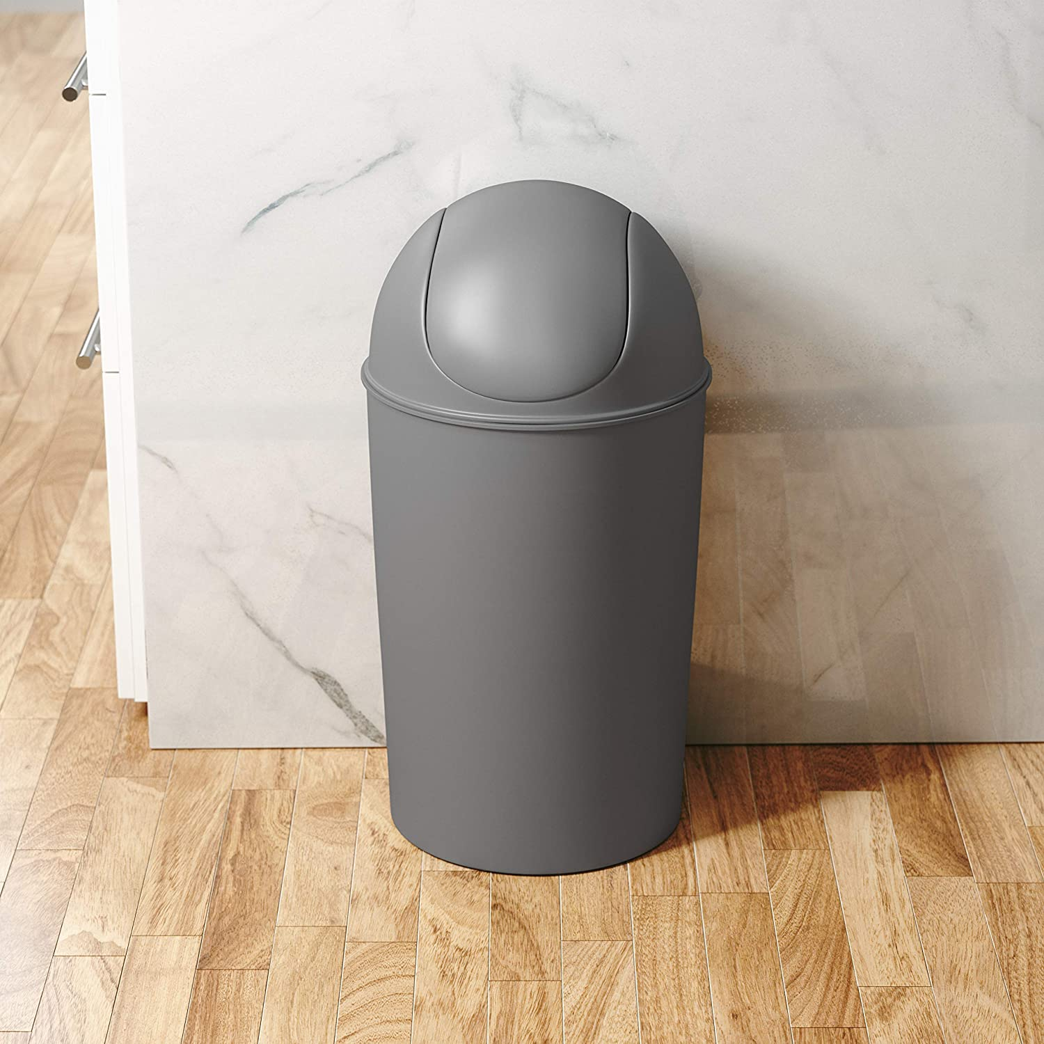Charcoal Umbra Grand Swing Top Garbage Large Capacity 10.25 Gallon Kitchen Trash Can with Lid Indoor//Outdoor Use