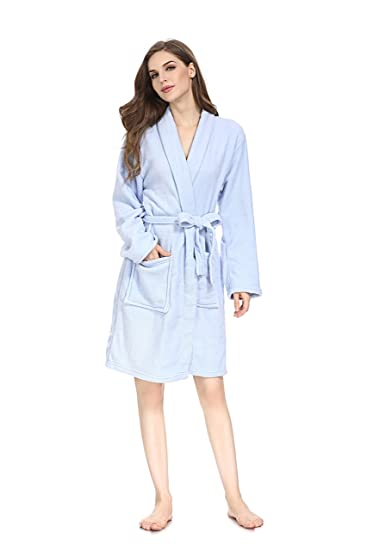 Image Unavailable. Image not available for. Color  Women Fleece Robe Super  Soft Plush Long Bathrobe ... c8a653a12