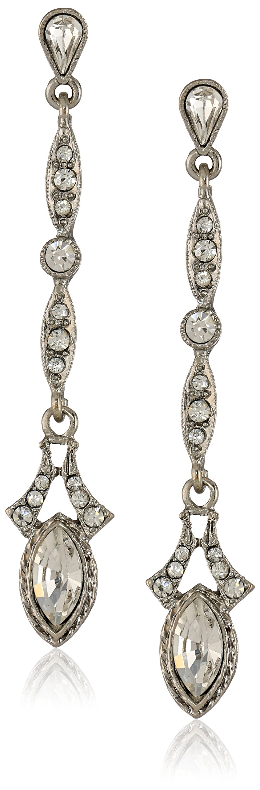 Downton Abbey''Jewelry Boxed Collection'' Silver-Tone Glass Crystal Drop Earrings by Downton Abbey
