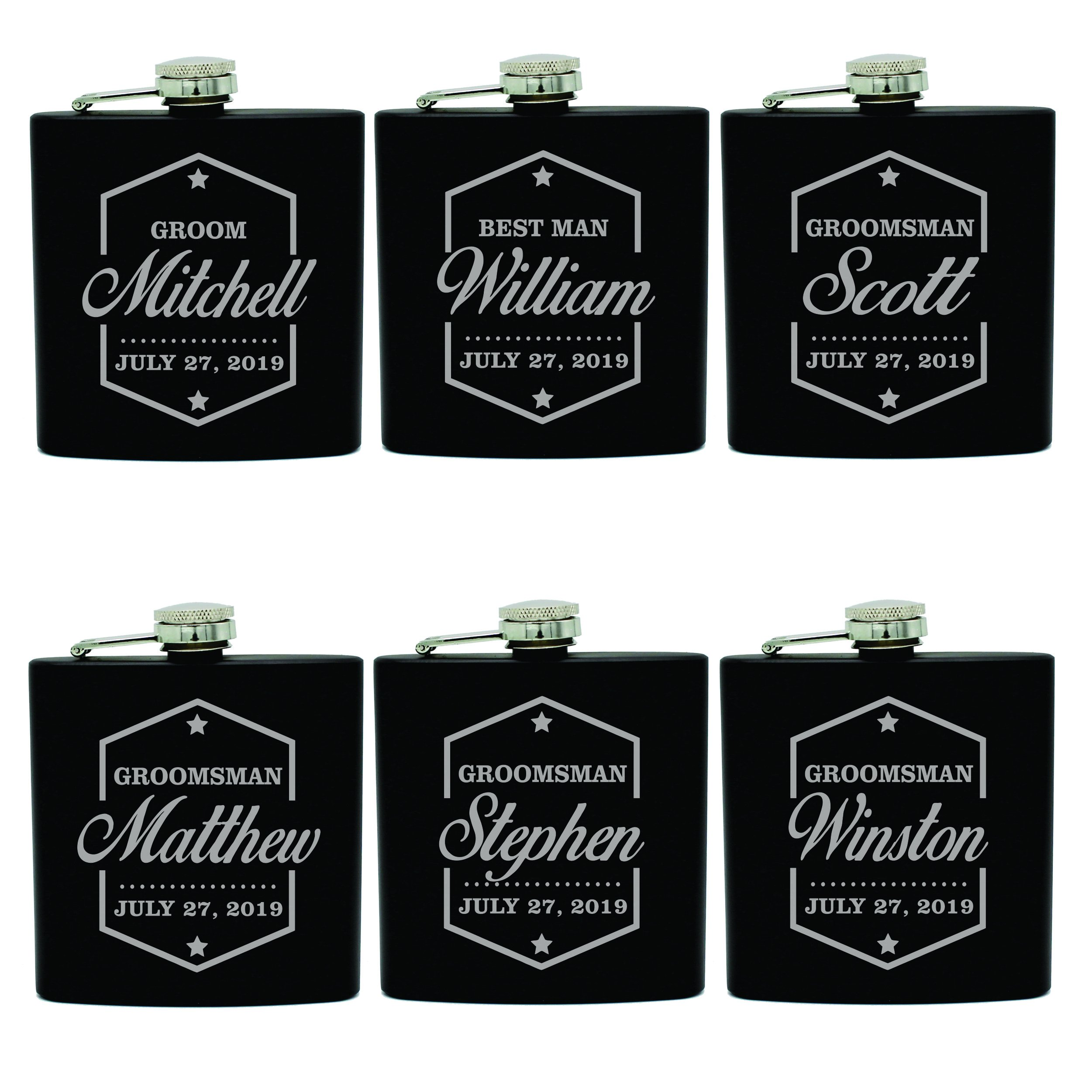 Set of 3, Set of 6 and more Custom Engraved Groomsman Flask Gift Sets - Personalized Wedding Party Flasks - Badge Style (6) by My Personal Memories