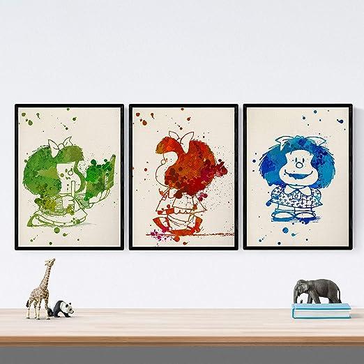 Nacnic Set de 3 láminas para enmarcar Mafalda Estilo Acuarela ...