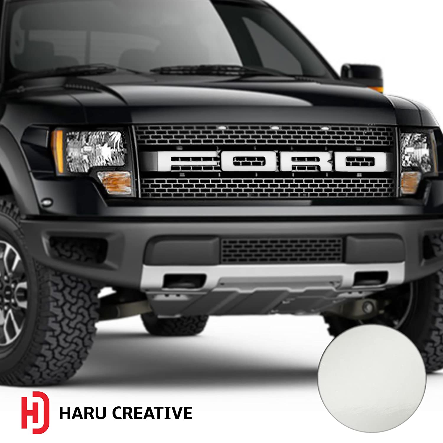Haru Creative - Gloss White Loyo Hood Grille Emblem Letter Overlay Vinyl Decal Compatible Fits Ford F150 F-150 Raptor 2010 2011 2012 2013 2014