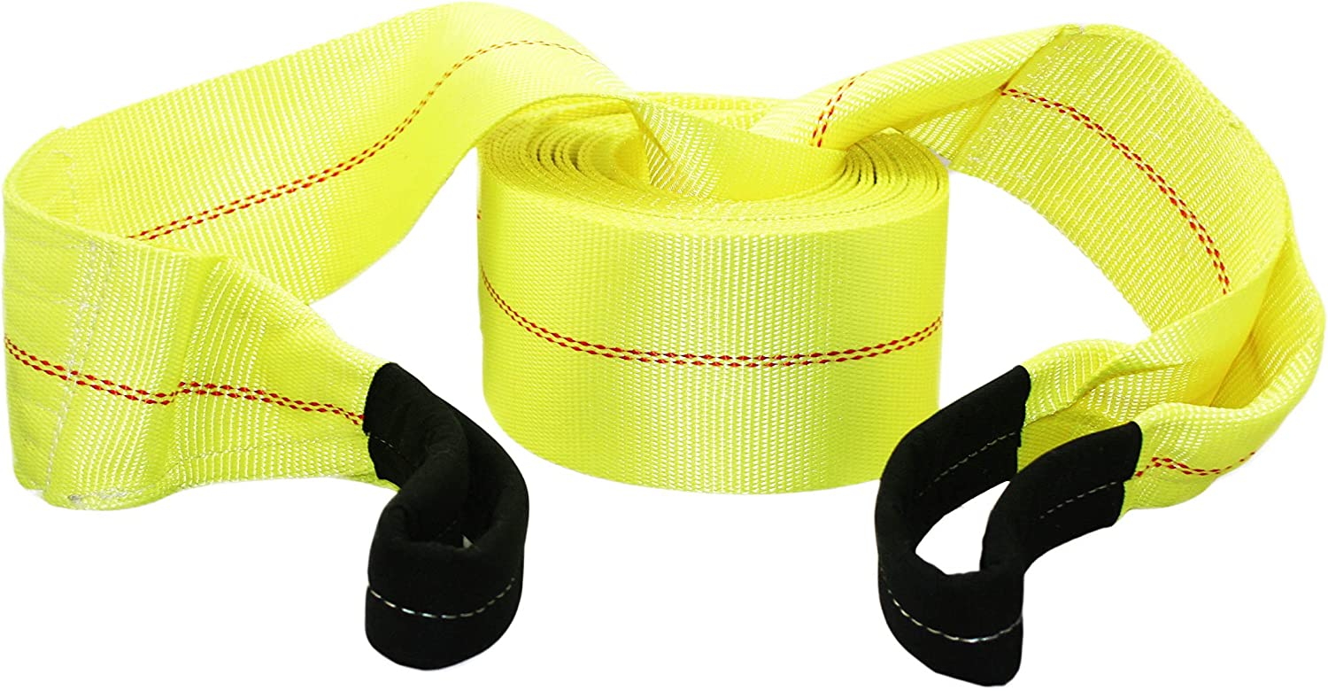 ABN Tow Winch Rope with Loops 20,000 lbs Pound Towing Capacity 30 Feet x 4 Inch Offroad Vehicle Recovery Strap