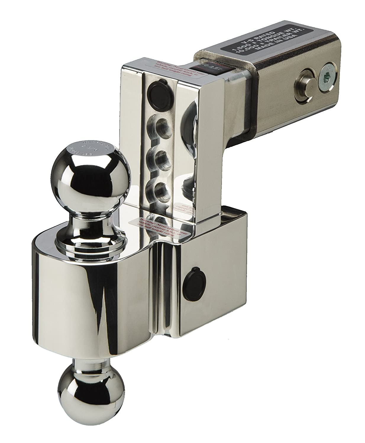 Built-In Locks 2.5 Inch Shank and Chrome Plated Balls Fastway FLASH ALBM DT-ALBM6625 Adjustable Dual Locking Aluminum Ball Mount with 6 Inch Drop