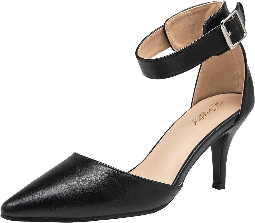902f786b415 Women Heels Pointed Toe Low Heel Dress Shoes Ankle Strap Pumps