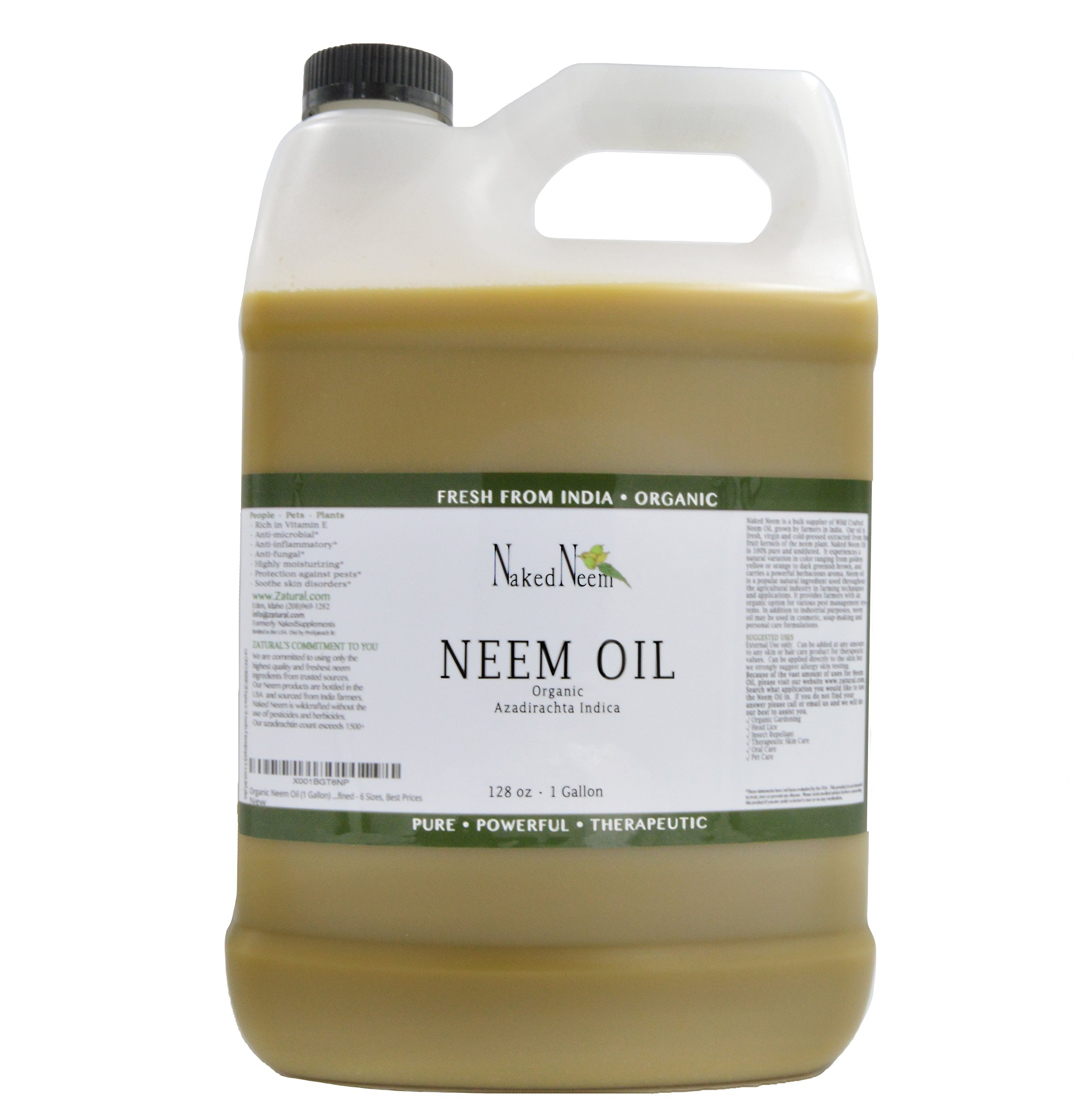 Zatural Organic Virgin Neem Oil 1 Gallon: 100% Natural Pure Cold Pressed No Additives, Unrefined Concentrate for Body and Skin, Pets, and Plants or Garden