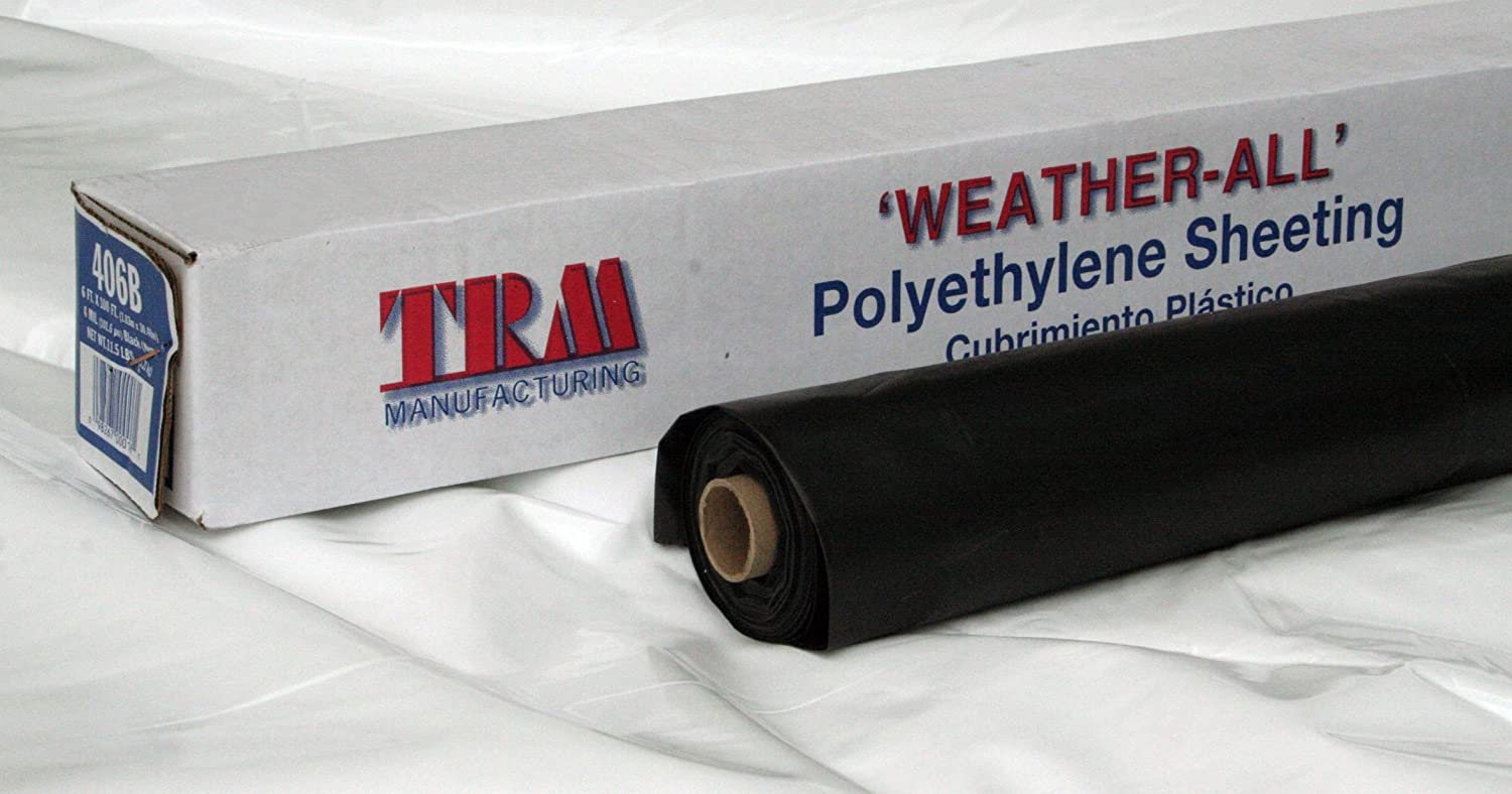 TRM Manufacturing 606B Weatherall 6 Mil Poly Plastic Sheeting Visqueen, 6' Wide 100' Long, 1 Roll in a Box, Black