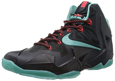 NIKE Lebron XI Basketball Shoes (9, Black/Diffused Jade-Light Crimson)