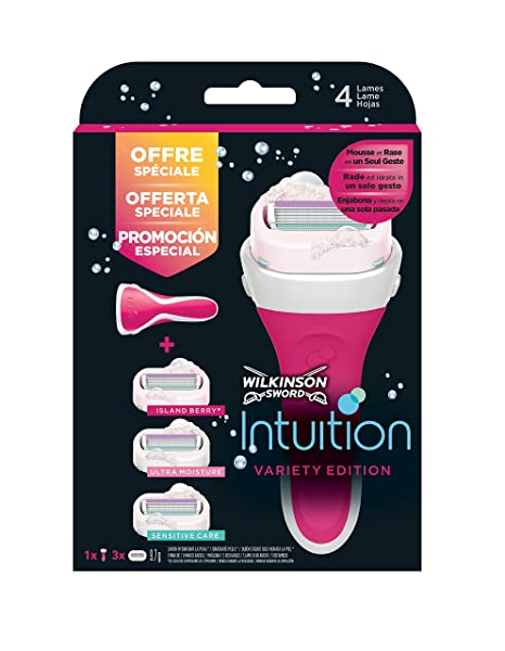 Wilkinson Sword Intuition Sensitive Care Pack Variety Edition - Maquinilla depilatoria y enjabonadora femenina Intuition +