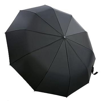 Black Compact Folding Umbrella Automatic with Wind Resistant Fibreglass Ribs