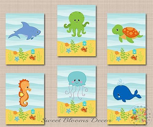 Frog Nursery Wall Art Prints Baby Boy Woodland Animal Kids Bathroom Room Decor