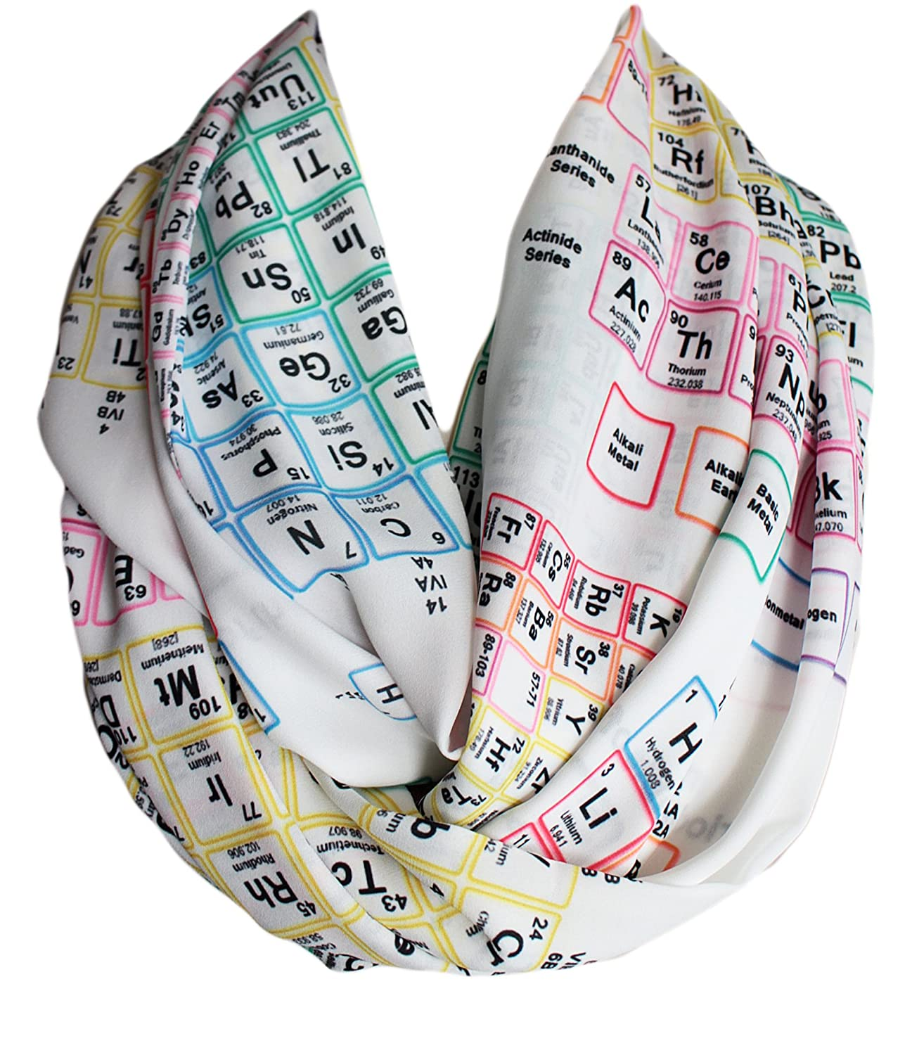 Etwoa's Chemistry Periodic Table Infinity Scarf Geeky Scarf (Colorful)