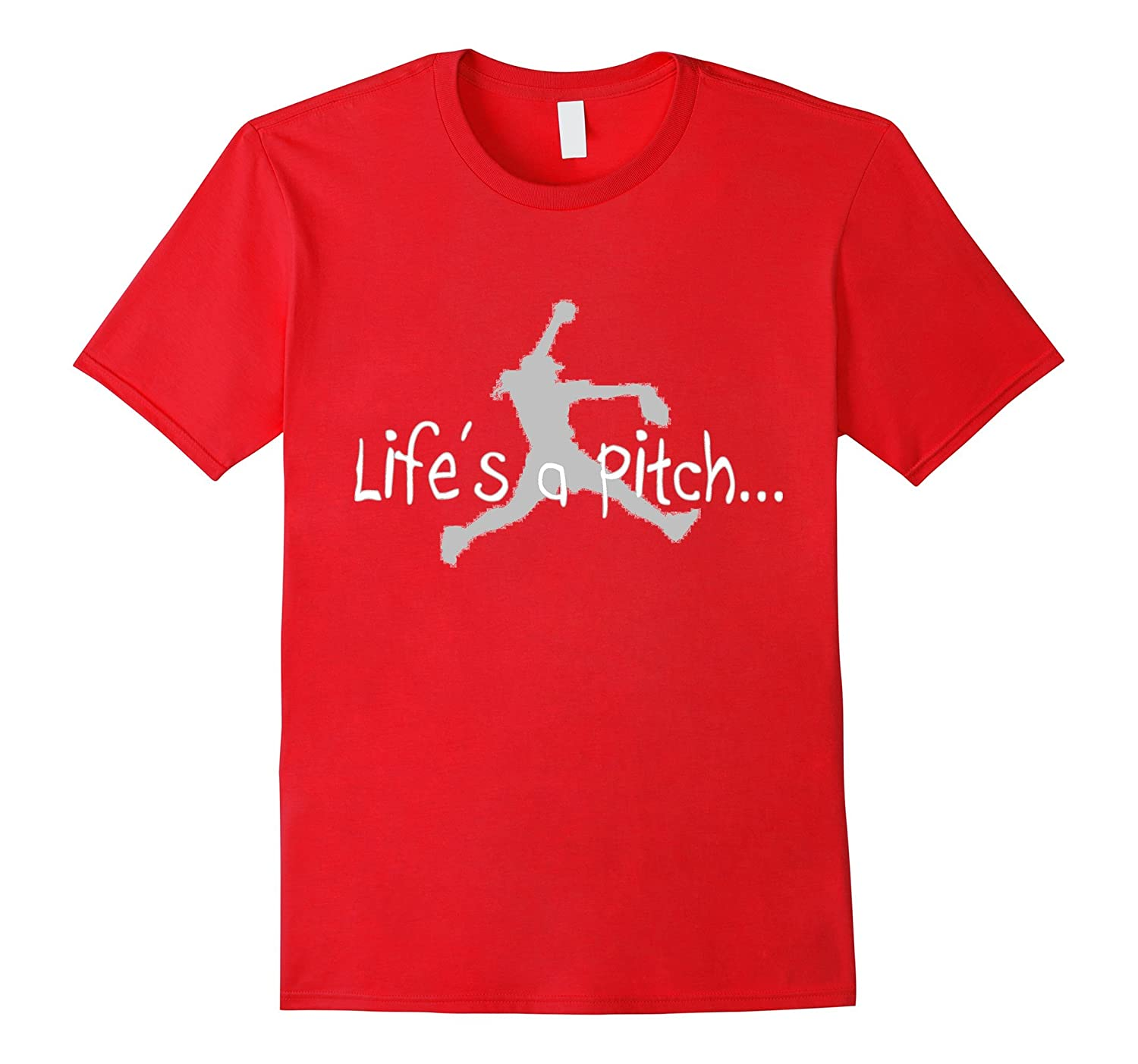 Life's a Pitch T-Shirt Fastpitch Softball Pitcher Funny Top-azvn