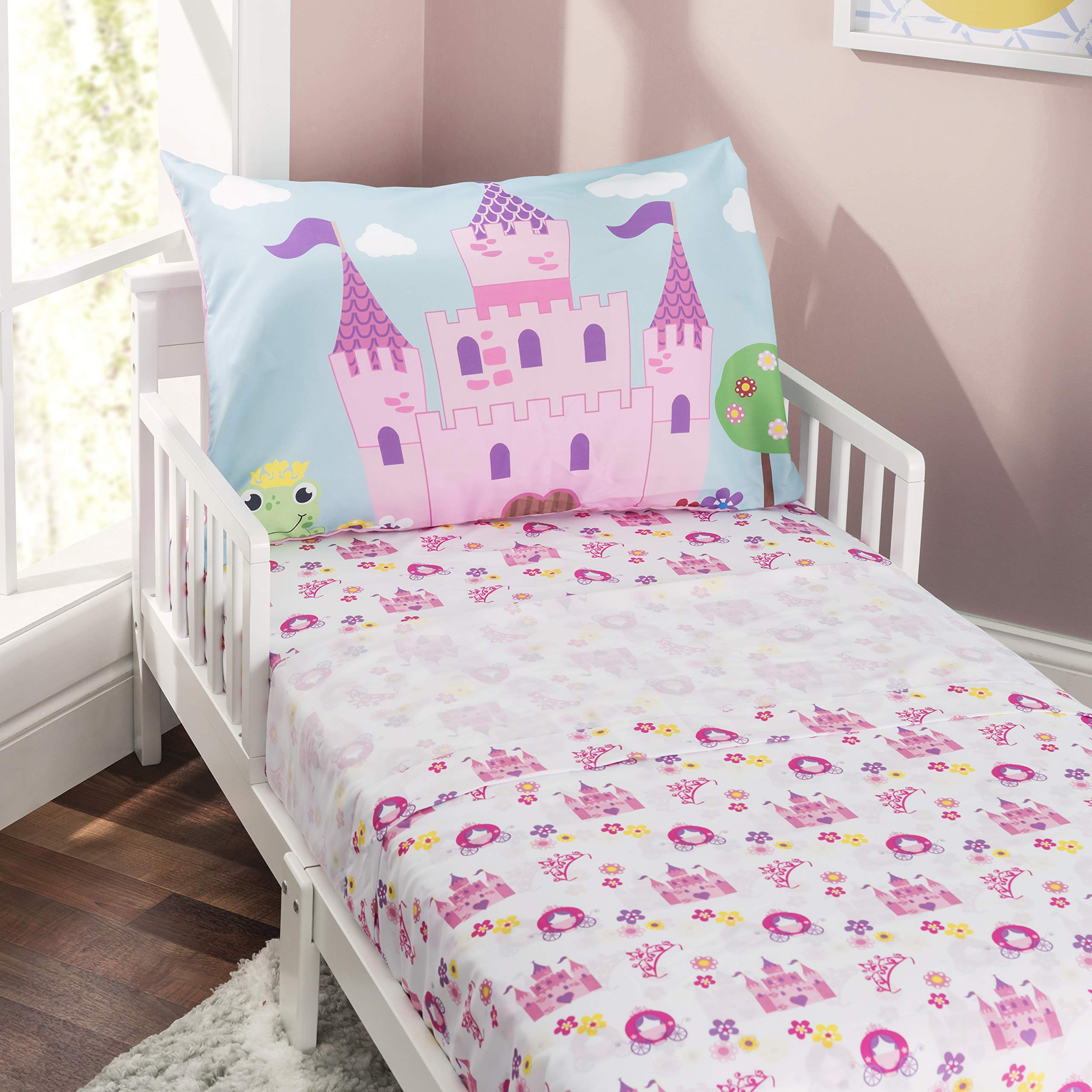 Everyday Kids 3-Piece Toddler Fitted Sheet, Flat Sheet and Pillowcase Set - Princess Storyland - Soft Microfiber, Breathable and Hypoallergenic Toddler Sheet Set by EVERYDAY KIDS
