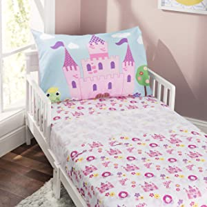 EVERYDAY KIDS 3-Piece Toddler Fitted Sheet, Flat Sheet and Pillowcase Set - Princess Storyland - Soft Microfiber, Breathable and Hypoallergenic Girls Toddler Sheets Set - Toddler Bed Sheets