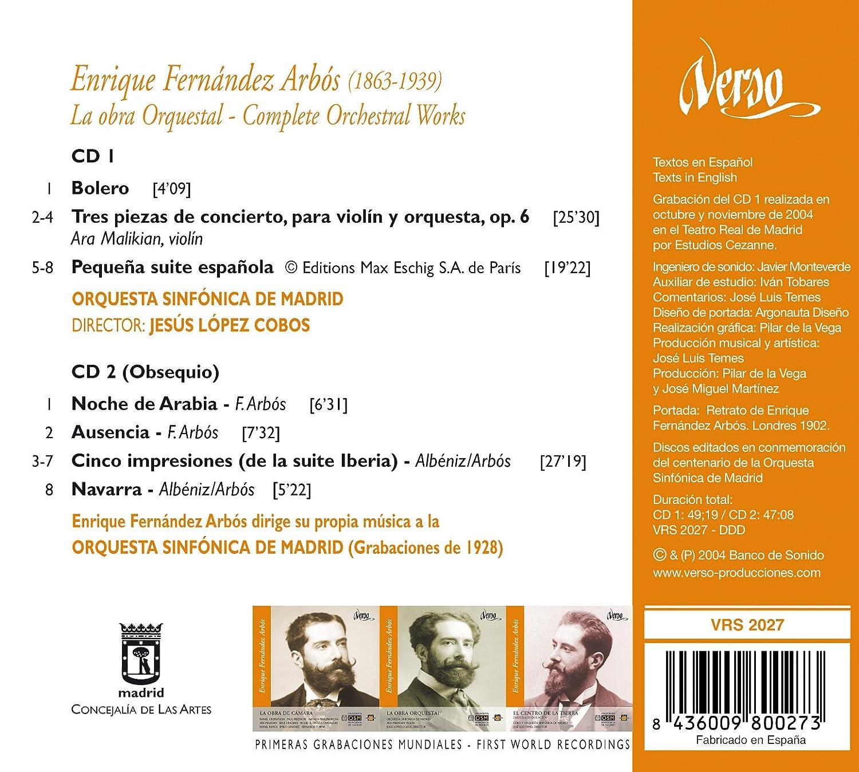 Ara Malikian, Enrique Fernández Arbós, Jesus Lopez Cobos, Madrid Symphony Orchestra - Enrique Fernàndez Arbós: Orchestral Works - Amazon.com Music