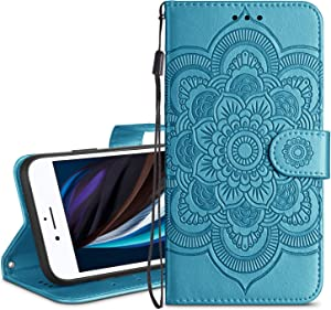 HianDier Wallet Case for iPhone SE 2020 8 7 Card Holder Case Kickstand Flip Cover Embossed Mandala Flower Lanyard Protective Soft PU Leather Cover Case for iPhone SE 2020 8 7 6 6s, Lake Blue