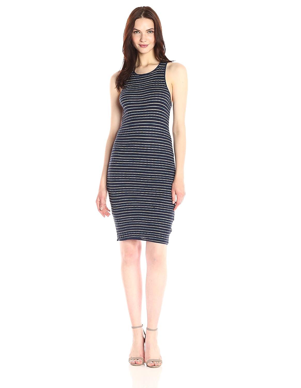 Splendid Woman Striped Ribbed-knit Midi Dress Navy Size L Splendid OgaIqfkijJ