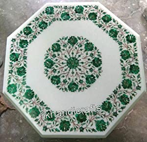 White Marble Dining Table Top with Stone Art Malachite Stone Inlaid Patio Table Top Perfect Decor Furniture (27 x 27 Inches)