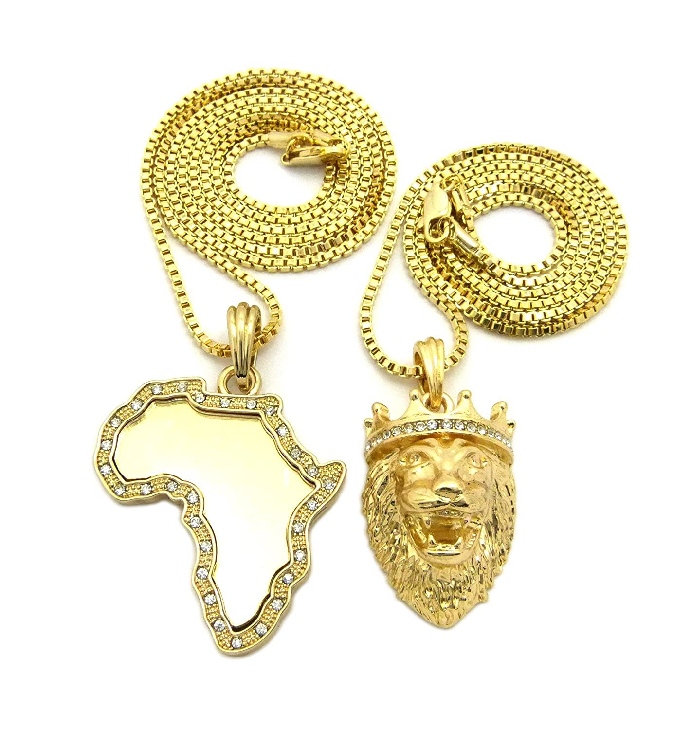 Crown Gold-Plated Africa Map Lion 2 Pieces Layer Hip Hop Necklace for Men