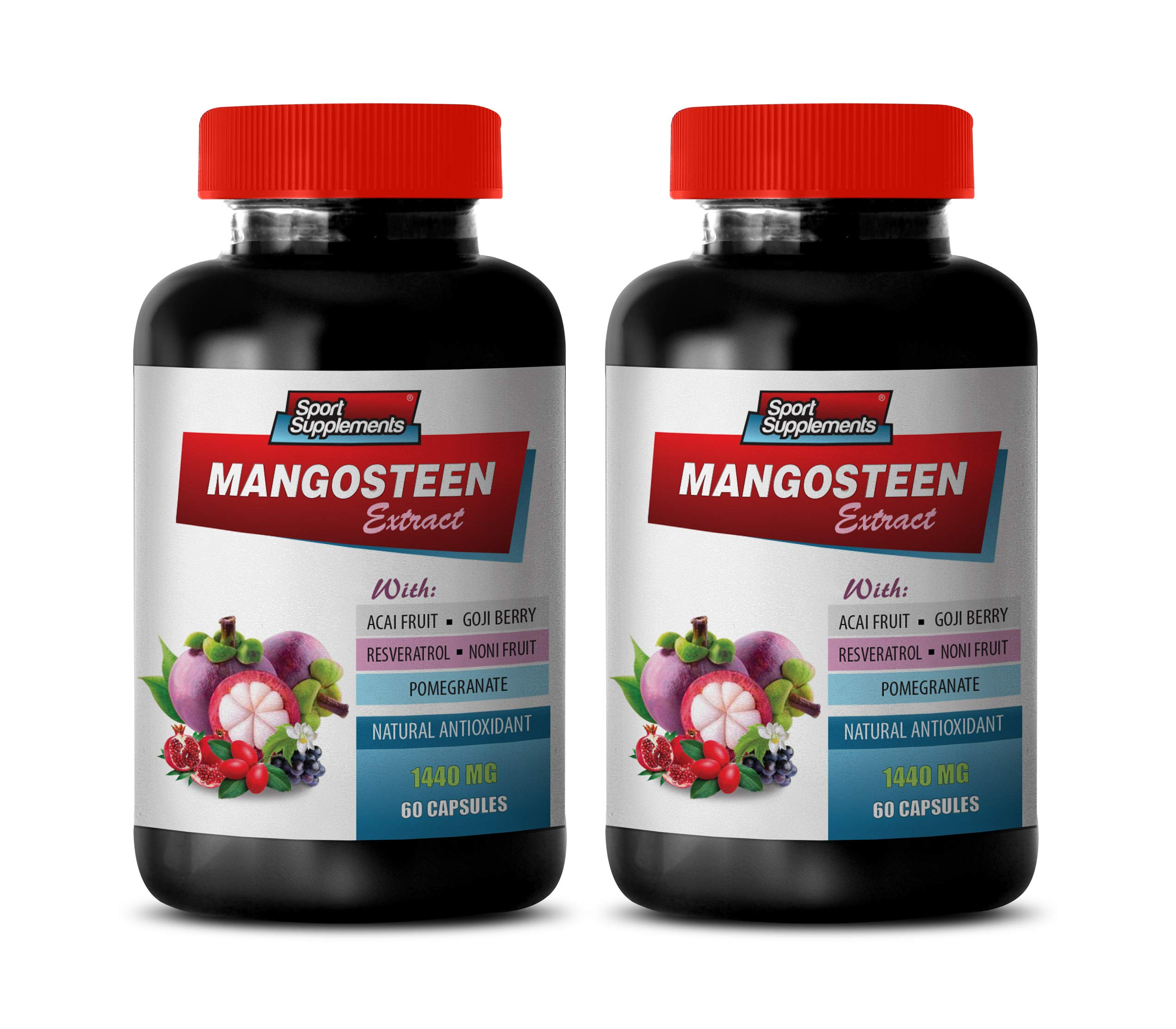 Brain and Memory Power Boost - Mangosteen Extract Complex 1440MG - Natural ANTIOXIDANT - Mangosteen Pills - 2 Bottles 120 Capsules