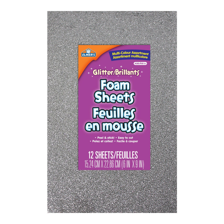 Elmer's Peel and Stick Foam Glitter Sheets, 15.24 X 22.86cm, 6 X 9-Inch, 12-Count, Assorted Colors (EC61301Q) Elmer Products