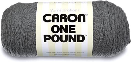 Medium Gauge 100/% Acrylic Caron  One Pound Solids Yarn - 4 Knitting /& Crafting 16 oz Medium Grey Mix- For Crochet
